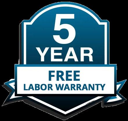 Free Five Year Labor Warranty